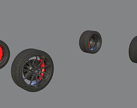 Sport wheels R20 and Brembo brake 3D asset
