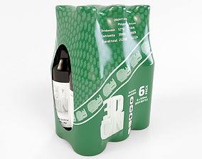6 pack 500ml bottles in a plastic shrinkwrap 3D