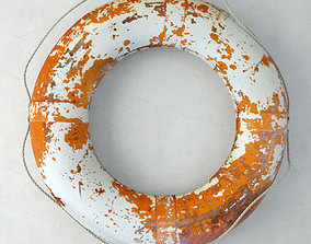 Large Vintage Nautical Orange and White Life Preserver 3D
