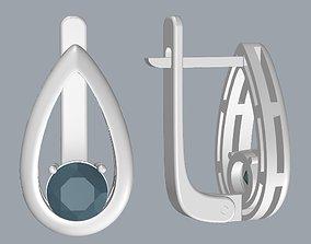 3D print model Raindrop Earrings with Round Gemstone