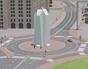 3D model low-poly Roundabout