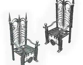 Metal Throne in two Materials 3D model PBR