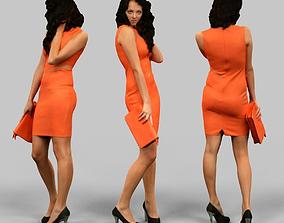 Woman in orange dress 3D asset