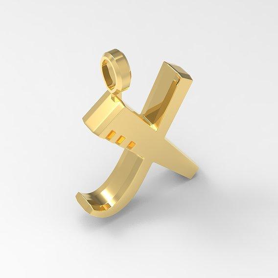 X Letter Pendant Gold