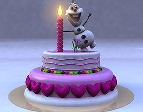 3D model Birthday Cake with Frozen Snow Man