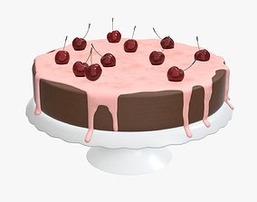 3D model Cake with cherry on top