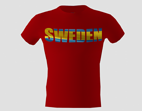 3D asset Low poly Sweden shirt red colour