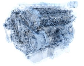 Animation V12 Engine 3D model animated