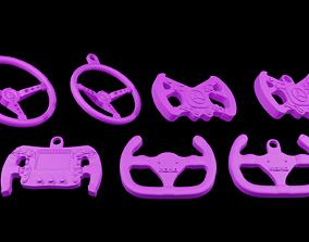 steering wheel Formula One Keychains Print 3d - blender