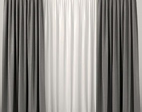 3D Gray curtains with tulle