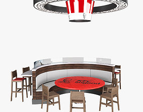 3D Fast Food Circle Table