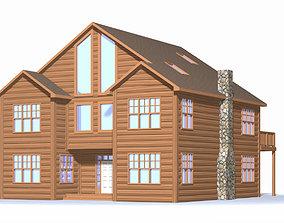 Winter Log Cabin Exterior 3D