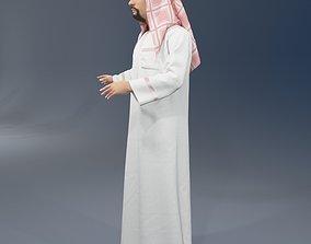 Arabic man real cloth simulation loop animation 3 3D model