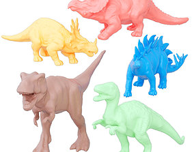 Collection of colored dinosaurs 3D model