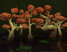 Low Poly Tree Swamp Pack 3D model