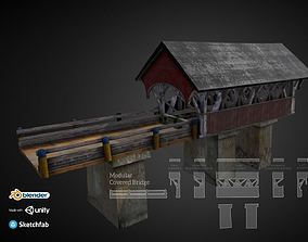 3D asset PBR Modular Covered Bridge