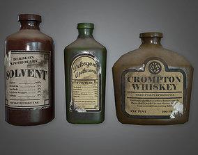 3D model Old Liqueur Bottles Set Antiques - ATQ - PBR Game