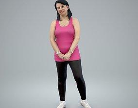 3D model Sporty Woman wearing pink T-Shirt