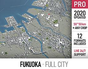 3D asset Fukuoka - city and surroundings
