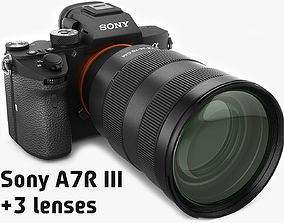 3D Sony Alpha 7R III with three lenses