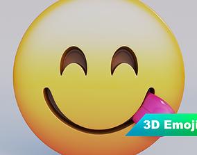 low-poly Face Savoring Food 3D Emoji