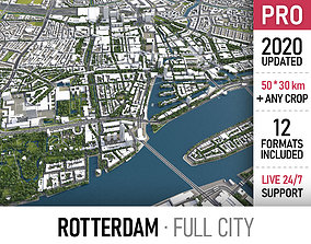 3D asset Rotterdam - city and surroundings