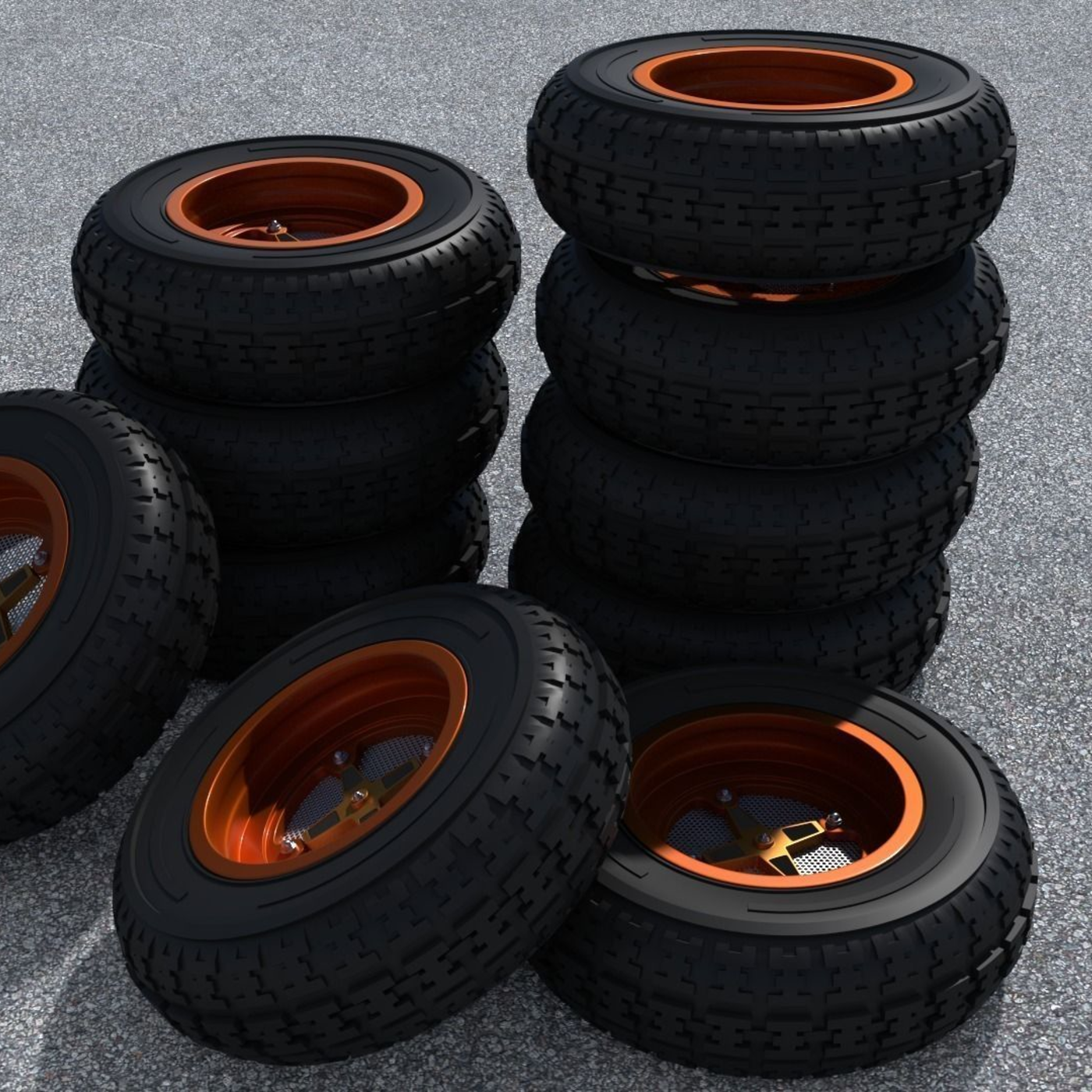 Two Tone Color Deflection Rims and Tires Materials