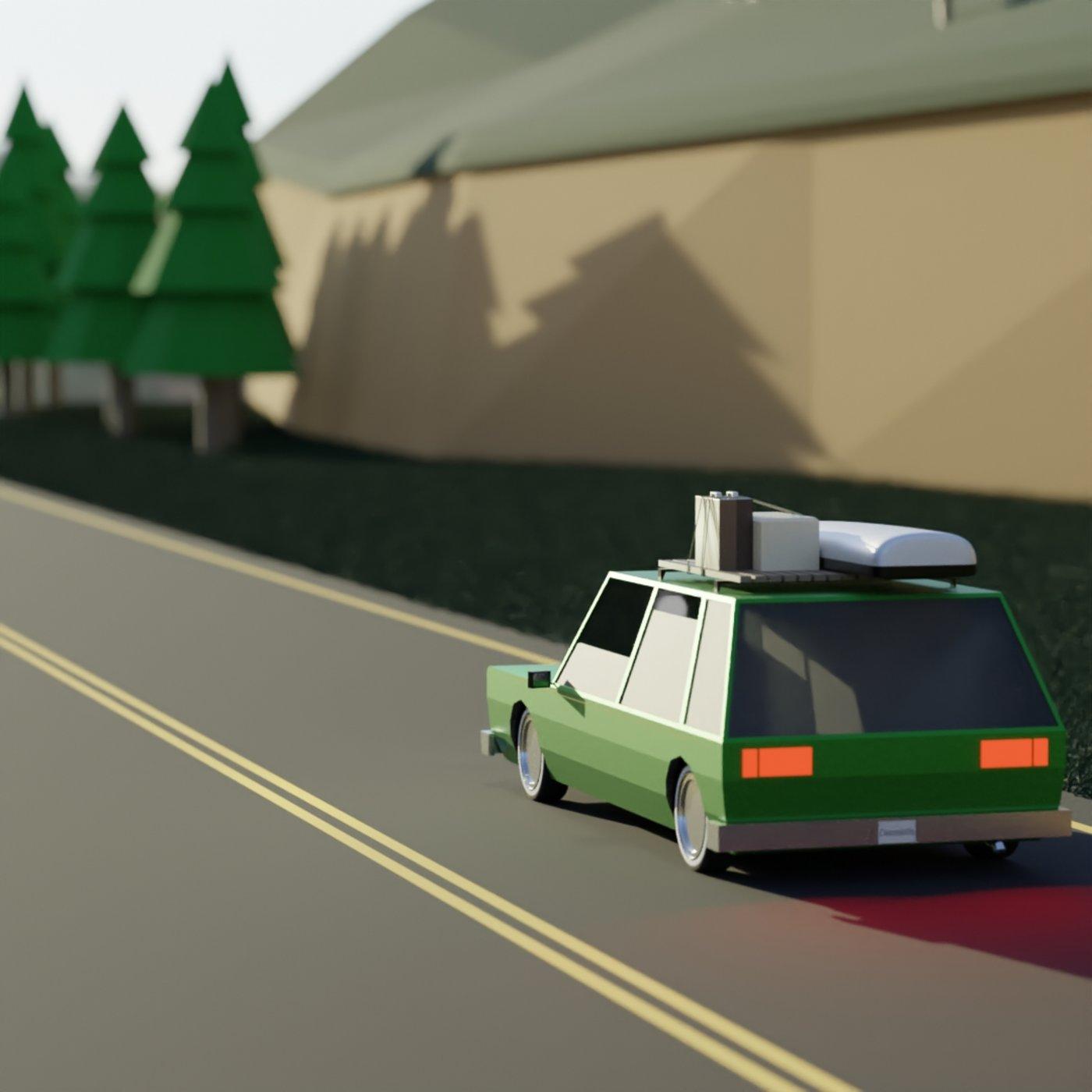 Low Poly Wagon Road Trip