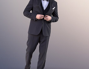 3D 10995 Sean - Young Man In Suit With Bow Tie Walking