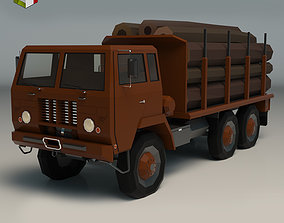 3D model Low Poly Logging Truck 01