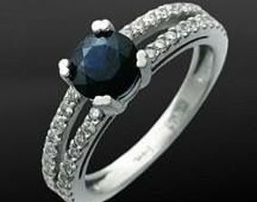 3D print model ring with blue round sapphire and diamonds