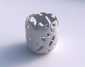 Bowl cylindrical with faceted cuts 3D printable model