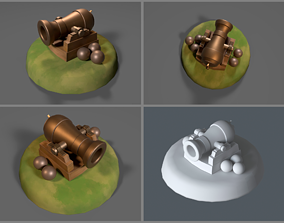 3D model Simple game-ready Cannon