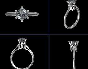3D print model Engagement Ring Single Diamond Stone