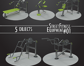 Street Fitness Equipment 5objects 01 3D model