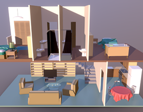 3D asset Low Poly House Interior