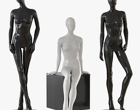 Abstract female mannequin black 3D model