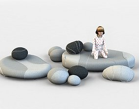 3D model Floor cushion chairs Smarin stones and child