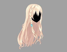 rigged game-ready 3D Hair anime girl 03 Low poly