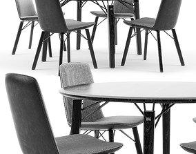 Rolf Benz 616 chair set living 3D model
