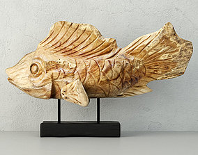 Hand Carved Driftwood Fish On Stand 3D marine