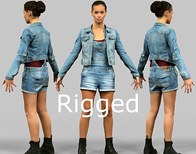 3D asset Jeans Girl Rigged