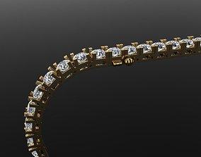3D printable model Box Style Diamond Tennis Bracelet 4mm50