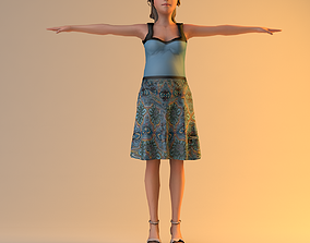3D Low Poly Pregnant Woman rigged