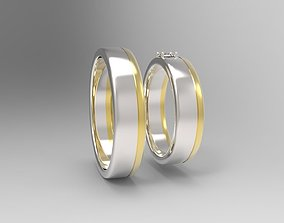 3D print model wedding ring pair