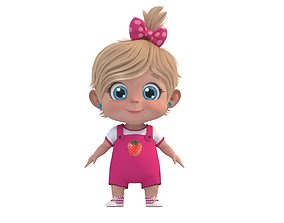 rigged Cartoon Cute Baby Girl Rigged 3D model