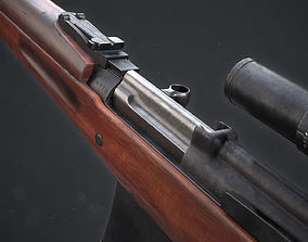 PBR Soviet SVT-40 Semi-Automatic rifle 3D model