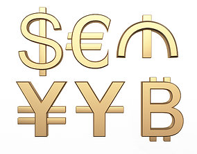 Currency Symbols Collection 3D model