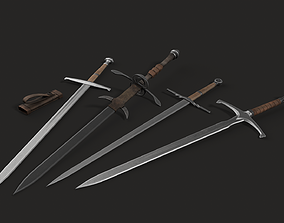 3D asset 4 Lowpoly Medieval Modular Two-Handed Swords