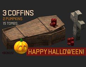 3D asset apocalyptic horror halloween coffins headstones